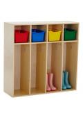 ECR4Kids Birch Streamline 4-Section Toddler Coat Locker