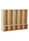 ECR4Kids Birch Streamline 5-Section Toddler Bench Coat Locker