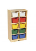 ECR4Kids Birch 10-Section Mobile Cubby Tray Classroom Storage Cabinet