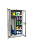 """Hallowell 78"""" H Antimicrobial Safety-View Combination Storage Cabinets, Light Grey"""