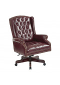 Office Star Work Smart Traditional Deluxe Vinyl Wood High-Back Executive Office Chair